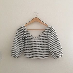 Zara striped off the shoulder crop top